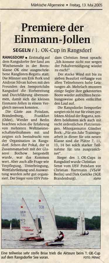 Scan eines Artikels in der Märkischen Allgemeinen Zeitung vom 13.05.2005
