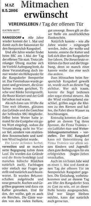 Scan eines Artikels in der Märkischen Allgemeinen Zeitung vom 08.05.2006