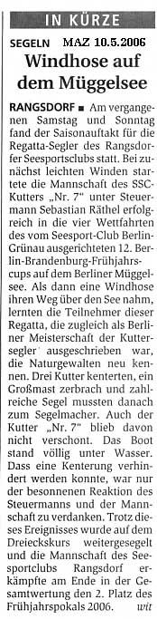 Scan eines Artikels in der Märkischen Allgemeinen Zeitung vom 10.05.2006