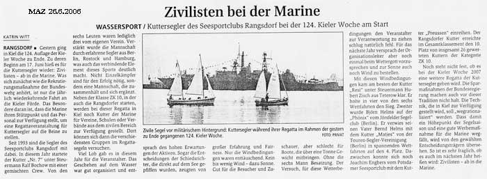 Scan eines Artikels in der Märkischen Allgemeinen Zeitung vom 26.06.2006