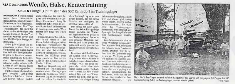 Scan eines Artikels in der Märkischen Allgemeinen Zeitung vom 24.07.2006
