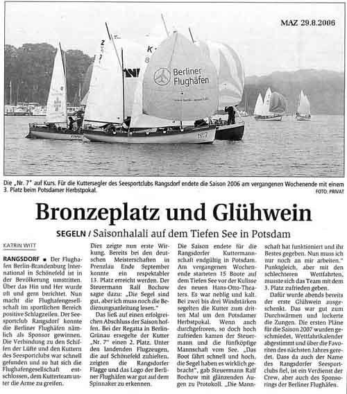 Scan eines Artikels in der Märkischen Allgemeinen Zeitung vom 30.08.2006