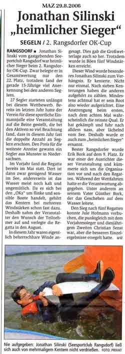Scan eines Artikels in der Märkischen Allgemeinen Zeitung vom 29.08.2006