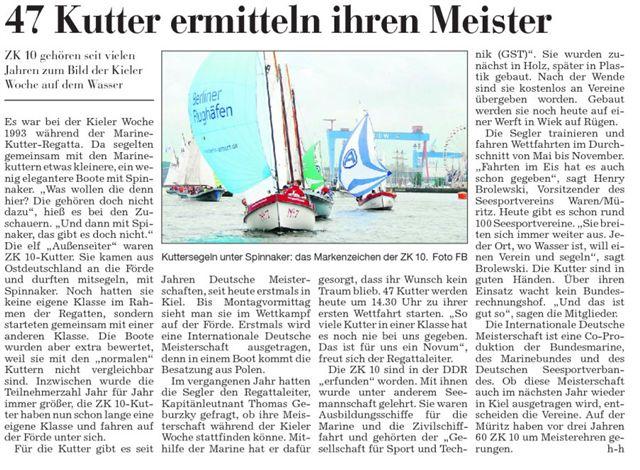 Scan eines Artikels in den Kieler Naachrichten vom 04.07.2008